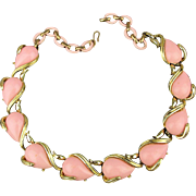 Vintage CORO Pink Plastic Thermoset Gilt Link Necklace