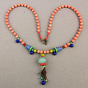 Angel Skin Coral Necklace w/ Multi Color Stone Tassel