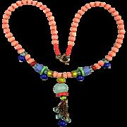 Angel Skin Coral Necklace w/ Multi Color Stone Tassel