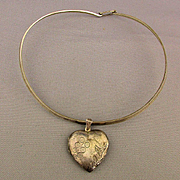 Sterling Silver Locket Heart on 925 Mexican Silver Neck Band Necklace