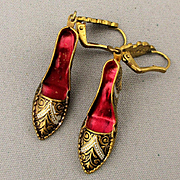 Vintage Damascene Shoe Pumps Earrings - Spanish Inlay