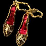 Vintage Damascene Shoe Pumps Earrings - Spanish Inlay