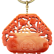 Vintage Kenneth Lane Faux Coral Chinese Pendant Necklace