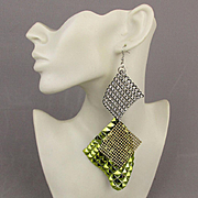 Vintage Mod Triple Threat Earrings - Long Mesh / Rhinestones / Metallic
