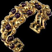 Art Deco Era Wavy Gilt Cuff Bracelet w/ Amethyst Beads