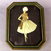 Art Deco Era Lady in Real Textile Clothes - Framed Picture