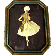 SOLD - Art Deco Era Lady in Real Textile Clothes - Framed Picture