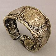 Vintage Heavy Sterling Silver Roman Coin Cuff Bracelet