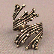 Modernist Beau Sterling Silver Ring Bypass Design