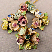 Old Austrian Hand-Painted Flower Bud Necklace w/ Rhinestones