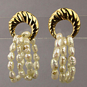 Vintage 14K Gold Earrings w/ 3 Genuine Pearl Hoops
