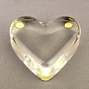 Vintage French Baccarat Crystal HEART Paperweight: Valentine's Day: