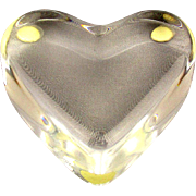 Vintage French Baccarat Crystal HEART Paperweight Valentine's Day