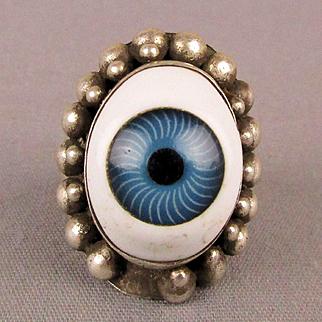 Old Sterling Silver Porcelain Glass EYE Ring