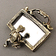 Vintage Vain Frog Looking in the Mirror Pin Brooch Sterling Silver
