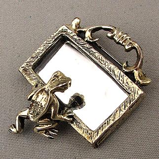 Vintage Vain Frog Looking in the Mirror Pin Brooch Sterling Silver