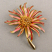 Vintage Signed Boucher Enamel Flower Pin Brooch Zinnia