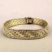 Sterling Silver Woven Herringbone Link Bracelet Italian Sleek