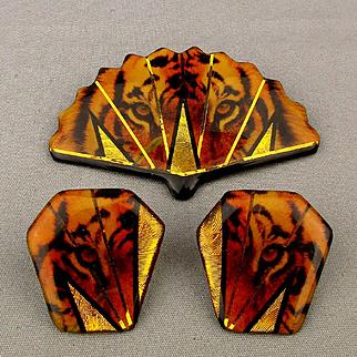 Designer Pin Brooch - Earrings Set Tiger Laminate John Crutchfield
