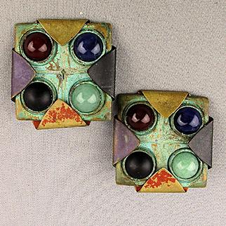 Modernist Mixed Metal Gemstone Clip Earrings Signed Dannah