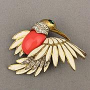 Signed Vintage JOMAZ Rhinestone Enamel Bird Pin Brooch