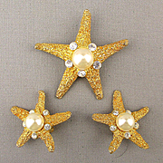Vintage KJL Kenneth Lane Starfish Pin Brooch Earrings Set - Jeweled Goldtone