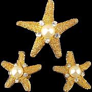Vintage KJL Kenneth Lane Starfish Pin Brooch Earrings Set - Jeweled Goldtone