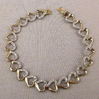 Sterling Silver w/ Gold Vermeil HEARTS Link Bracelet