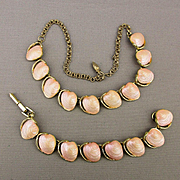 Vintage 1950s Necklace Bracelet Set - Pink Lucite Clams