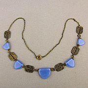 Art Deco Czech Necklace Periwinkle Glass w/ Ornate Brass