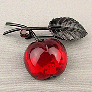 1950s Austrian Glass Fruit Pin Brooch Cherry