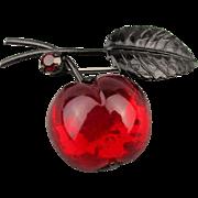1950s Austrian Glass Fruit Pin Brooch Cherry