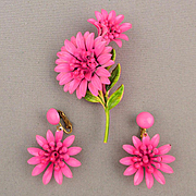 Vintage Pink Enamel Flower Pin - Earrings Set