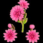 Vintage Pink Enamel Flower Pin - Earrings Set