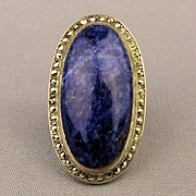 Big Sterling Silver Lapis Stone Ring w/ Marcasite