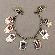 Old Orig. 1939 Enamel FLAG CHARM Bracelet 9 Countries