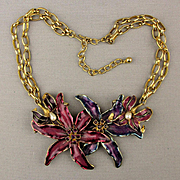 Vintage Kenneth Lane Enamel Flower Necklace - Bold Jeweled Gorgeous