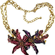 Vintage Kenneth Lane Enamel Flower Necklace - Bold Jeweled Gorgeous