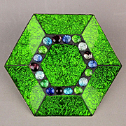 Rare Georges Briard Glass Guild Hexagon Jeweled Dish Mid Century: