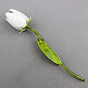 Vintage WEISS Long Tulip Enamel Flower Pin