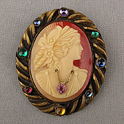 Victorian Jeweled En Habille Cameo Pin Carved Shell