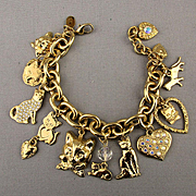 Vintage Kirk's Folly Charm Bracelet - Heart Cat Charms Hearts Cats