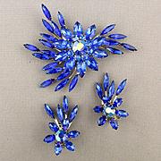 Signed  Judy Lee Cobalt Blue Rhinestone Pin w/ Clip Earrings Set
