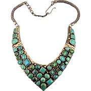 Big Sterling Silver Hinged Necklace w/ 43 Turquoise Stones