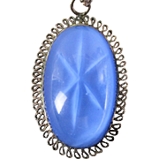 Sterling Silver Blue Glass Star Sapphire Pendant Necklace
