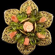 Vintage Coral Jade Filigree Pin w/ Carved Rose