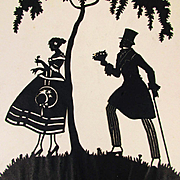 Old Victorian Cut Paper Silhouette Picture Romance Couple Signed