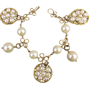 Vintage Pearls in a Gilded Cage Charm Bracelet