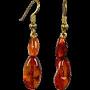 Vintage Baltic Amber Drop Earrings for Pierced Ears