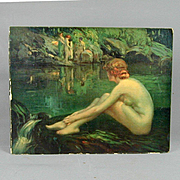 Orig. 1920s Signed BERNEKER Nymph Print on Canvas Board